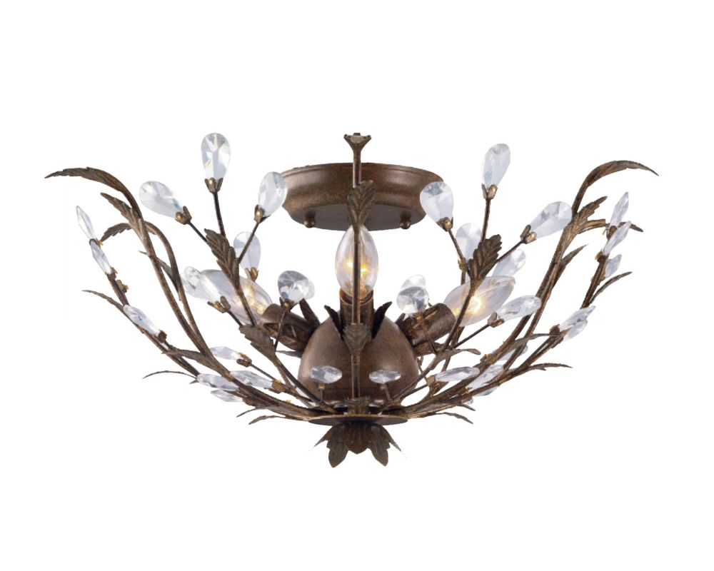 Hampton Bay 20.75-inch 3-Light 40W Bronze Semi-Flushmount Ceiling Light with Crystal Accents