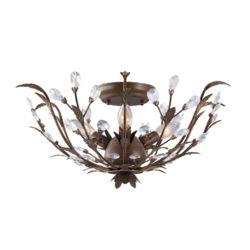 Hampton Bay Semi-plafonnier bronze, 3ampoules, 40W, 20,75po, détails en cristal