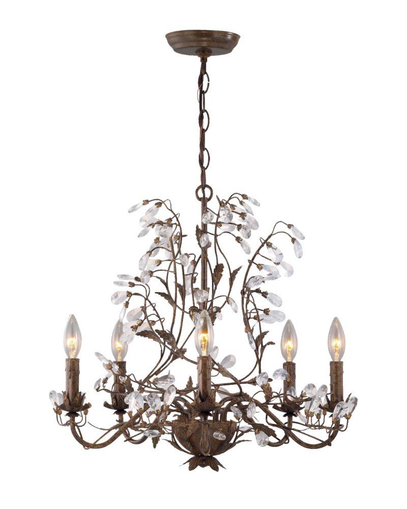 hampton bay 20 in chandelier bronze finish the home depot canada. Black Bedroom Furniture Sets. Home Design Ideas