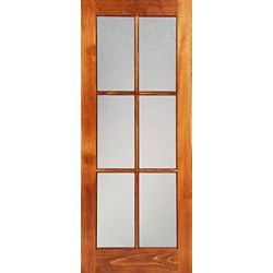 Milette 32-inch x 80-inch Clear Pine 6 Lite French Door with Konfetti Privacy Glass