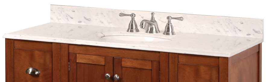 49-Inch W x 22-Inch D Marble Vanity Top in Carrara White