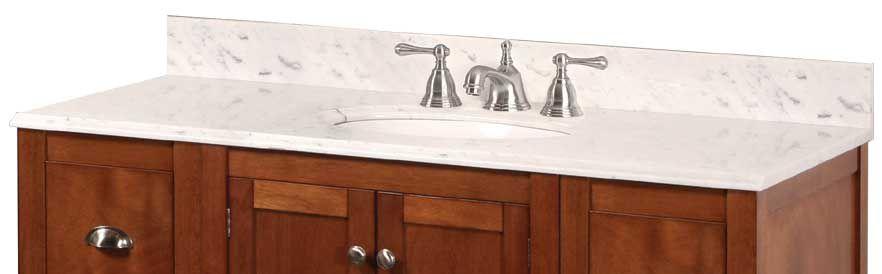 49-Inch W x 22-Inch D Marble Vanity Top in Carrara White