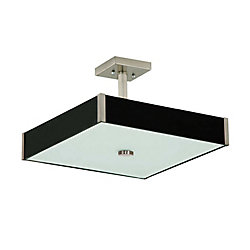 Lumirama Domino Collection Square Semi-Flush Mount Light Fixture in Dark Wood