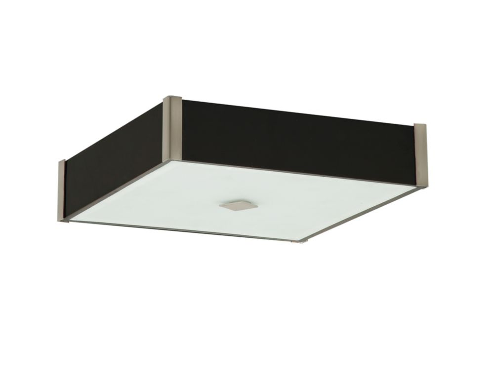 Flushmount Domino collection dark wood and glass