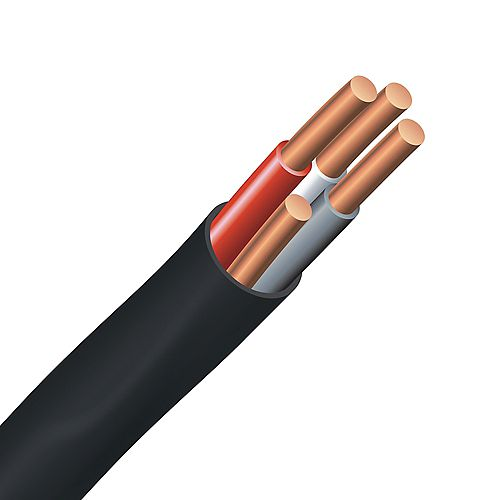 Southwire Underground Electrical Cable  Copper Electrical Wire Gauge 8/3. NMWU 8/3 BLACK - 10M