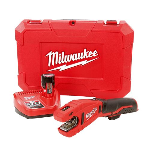 Milwaukee Tool M12 12-Volt Lithium-Ion Cordless Copper Tubing Cutter Kit W/ (1) 1.5Ah Battery, Charger & Hard Case