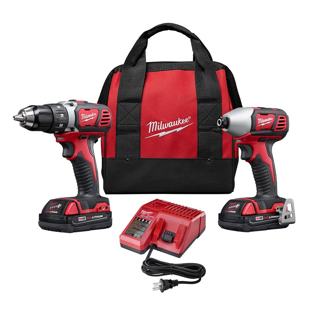 Milwaukee Tool M18 18V Lithium-Ion Cordless Drill Driver/Impact Driver Combo Kit (2-Tool) with (2) 1.5Ah Batteries, Charger, Tool Bag