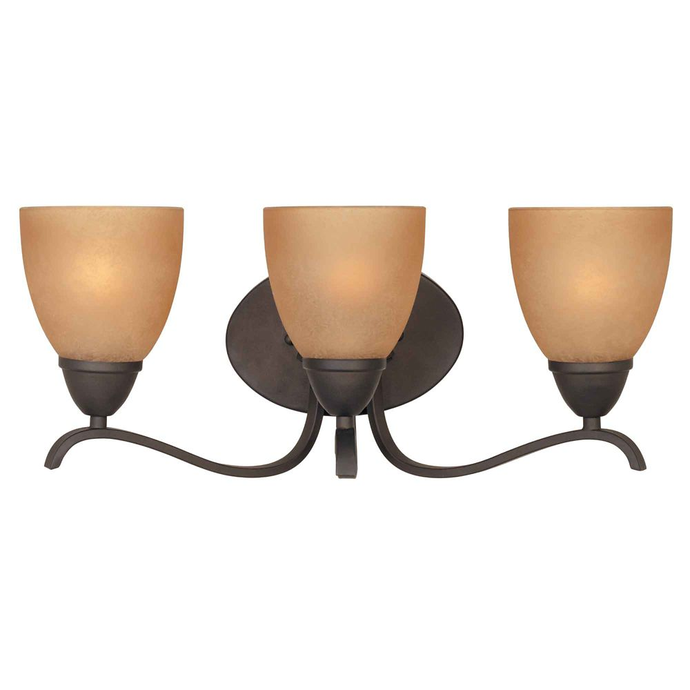 Applique de salle de bain à 3 lumières, fini bronze huilé