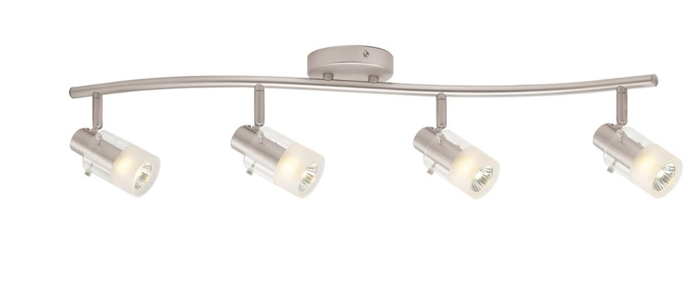 4 Light Semi-Flushmount Cylinder Glass Wave Bar Fixture Brushed Nickel Finish