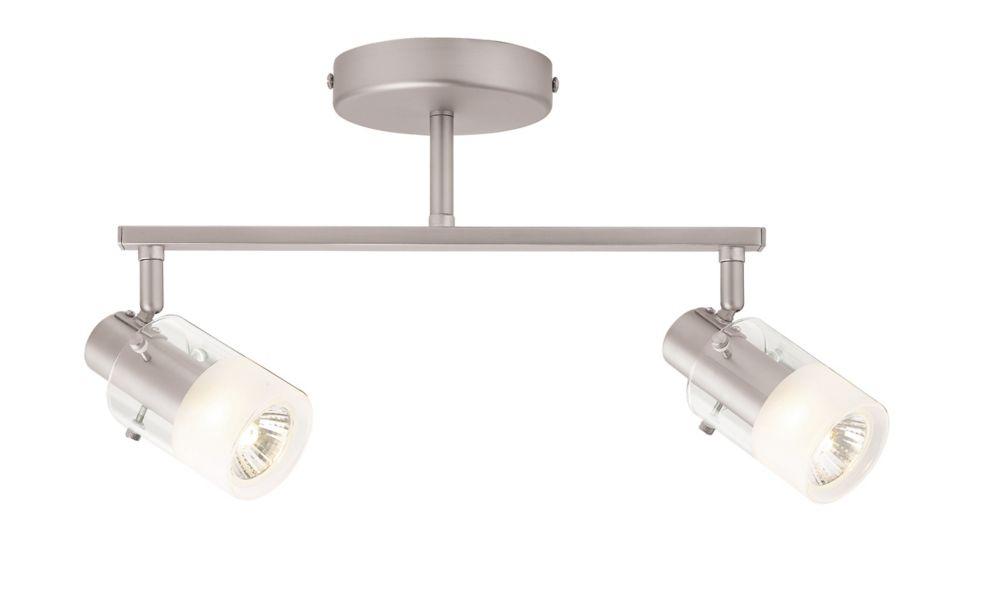 Hampton Bay  Semi-plafonnier à rail d'éclairage à 2lampes avec diffuseurs cylindriques, nickel brossé et verre