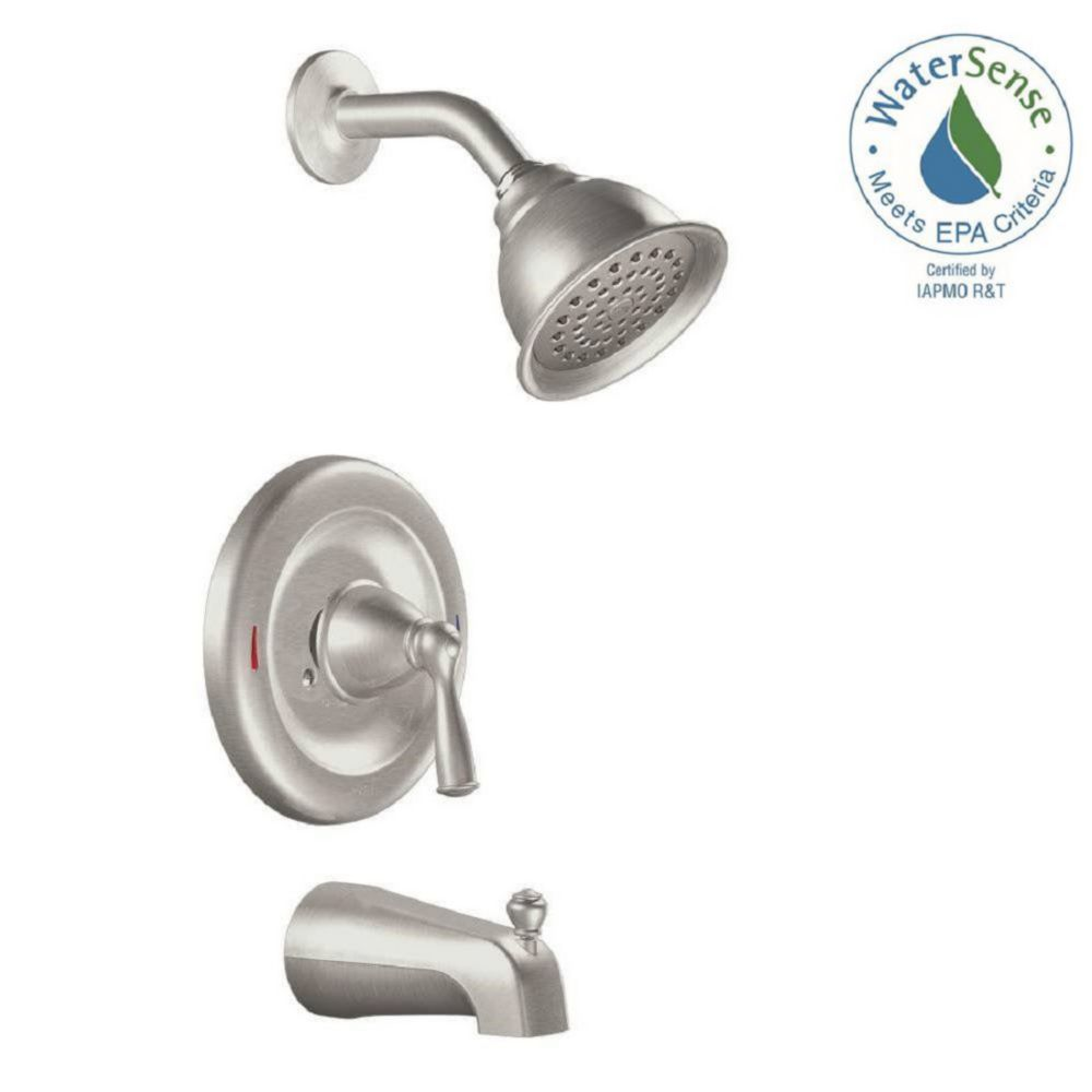 Moen Banbury Single-Handle 1-Spray Tub and Shower Faucet in Spot Resist Brushed Nickel (Valve Included)