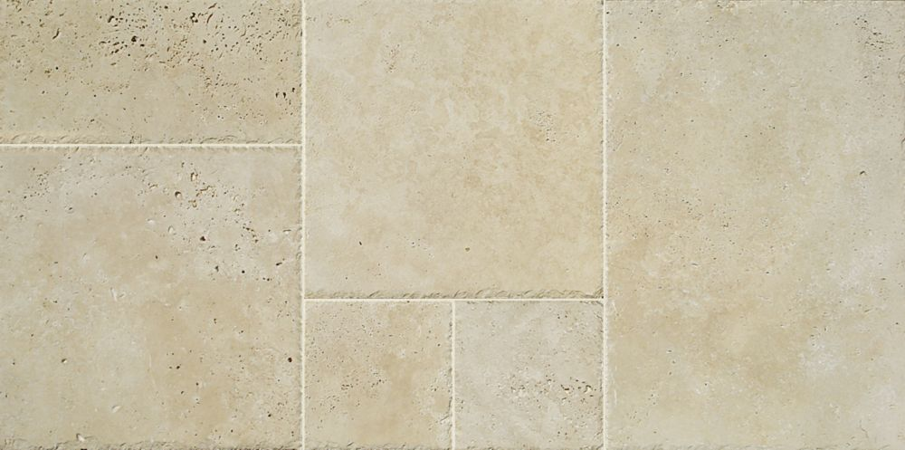 Travertine Cobble Stone Pattern Tile in Ivory (8 sq. ft./case)