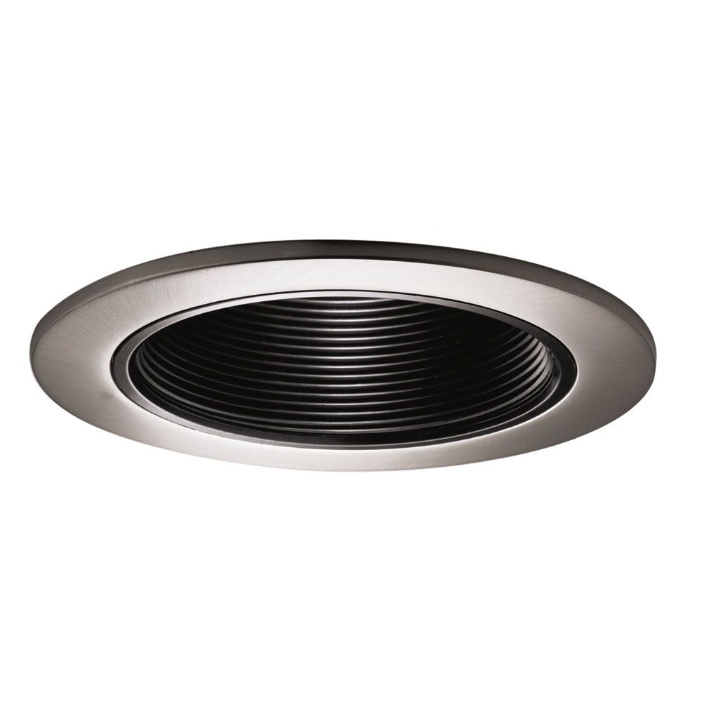 Halo Black Baffle With Satin Nickel Trim Ring 4 Inch Aperture The Home Depo