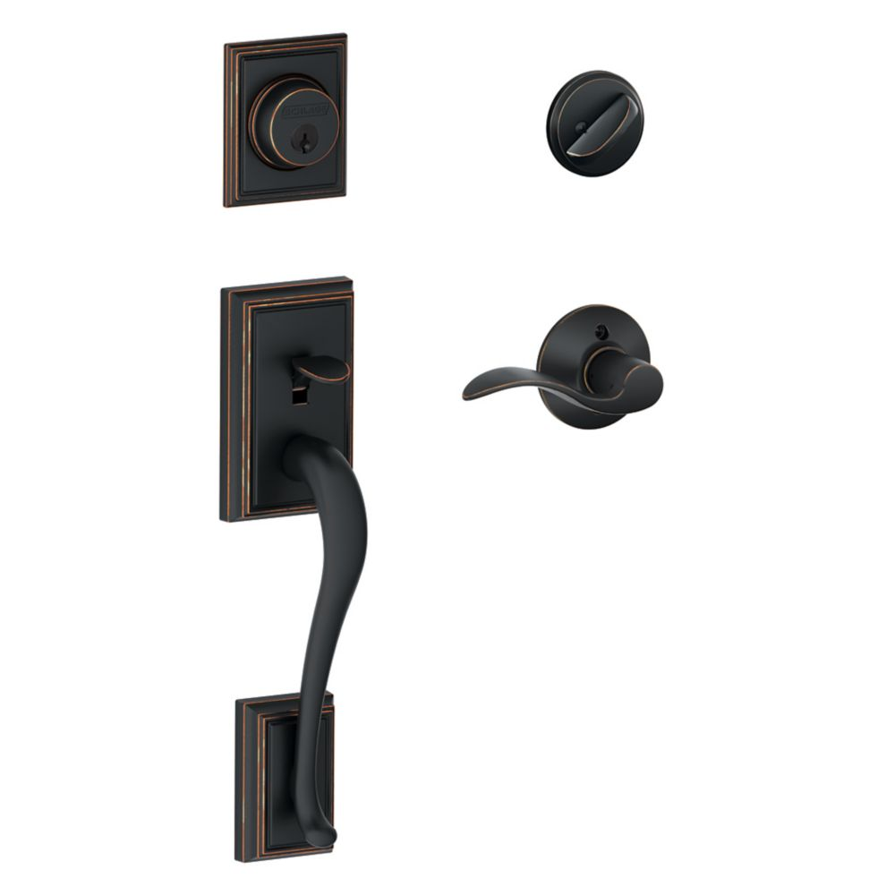 Schlage Addison Single Cylinder Handleset and Accent Lever Aged Bronze
