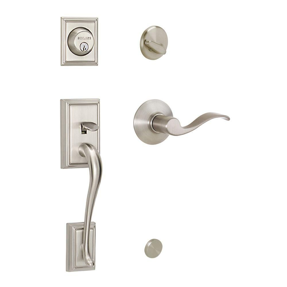 Schlage Addison Single Cylinder Handleset and Accent Lever Satin Nickel