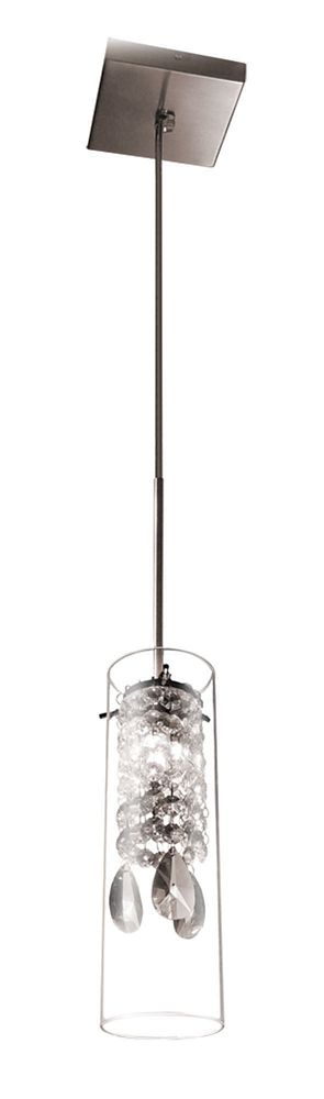 Bazz Single Pendant Light Brushed Chrome G9 With Glass Crystal And Transparent Glass