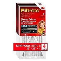 Filtre micro pour la protection contre les allergènes MPR 1000, 16 po x 25 po x 1 po, 4/paq.