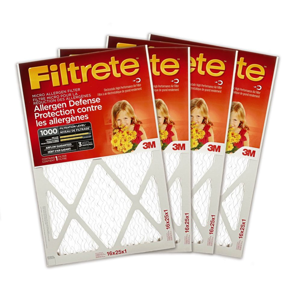 Filtrete Allergen Defense Micro Allergen Furnace Filter, 1000 MPR, 16x25x1,  (9801DC-6C)