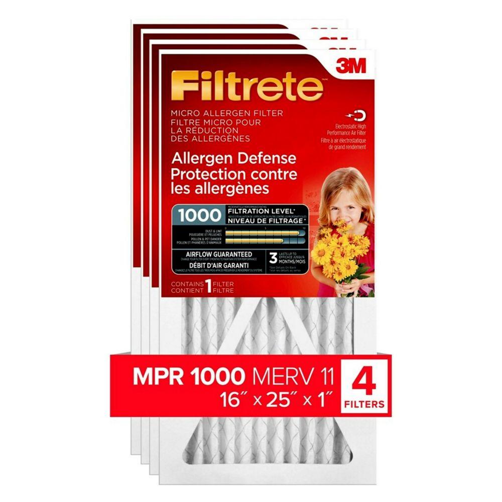 Filtrete 16-inch x 25-inch x 1-inch Allergen Defense MPR 1000 Micro Allergen Filtrete Furnace Filter (4-pack)