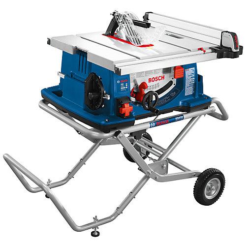 4100-10 Scie à table de chantier de 10 po avec pied à roulettes Gravity-Rise