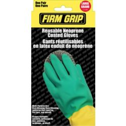 Firm Grip Reusable Neoprene Coated Gloves - Large