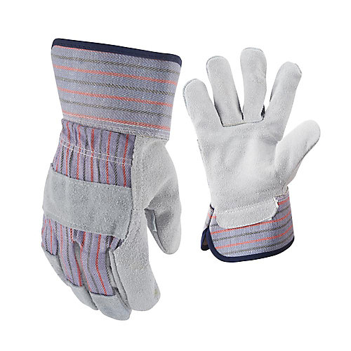 Suede Cowhide Leather Palm Work Gloves - Large