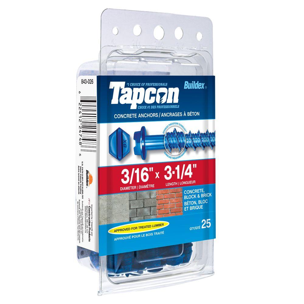3/16 X 3 1/4 Hex Hd Tapcon Screws