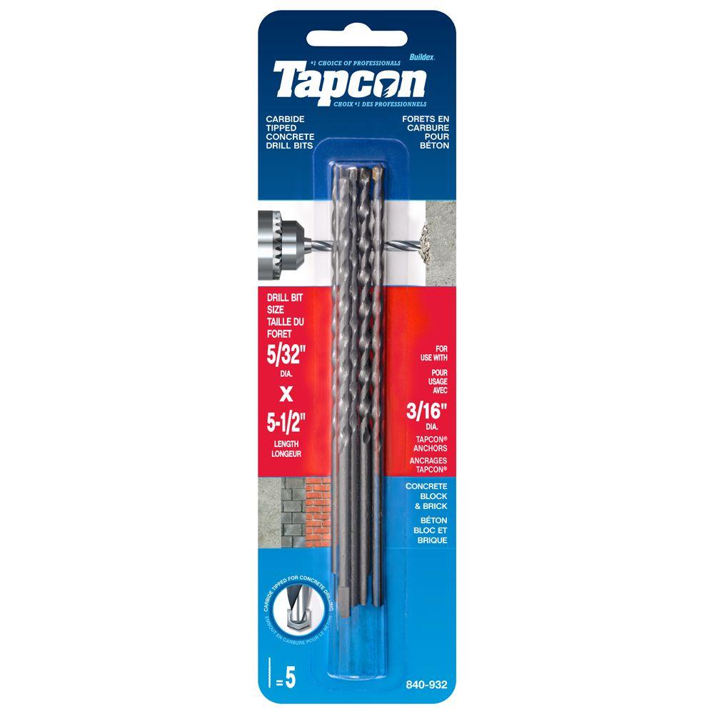 5/32x5 1/2 Tapcon  Drill Bits