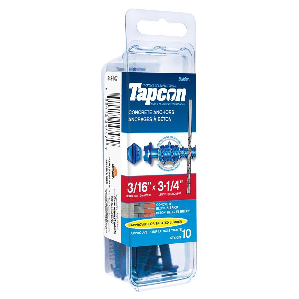 3/16x3 1/4 Hex Hd Tapcon Screws