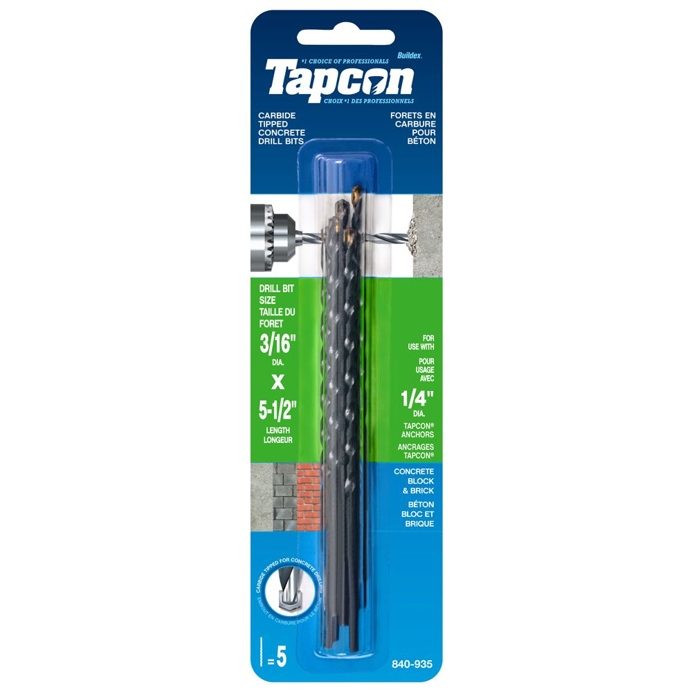 3/16x5 1/2 Tapcon  Drill Bits