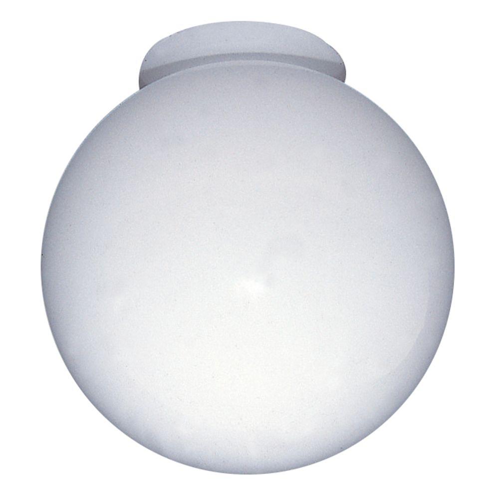 15,24cm verre globe  avec col, Fini Blanc
