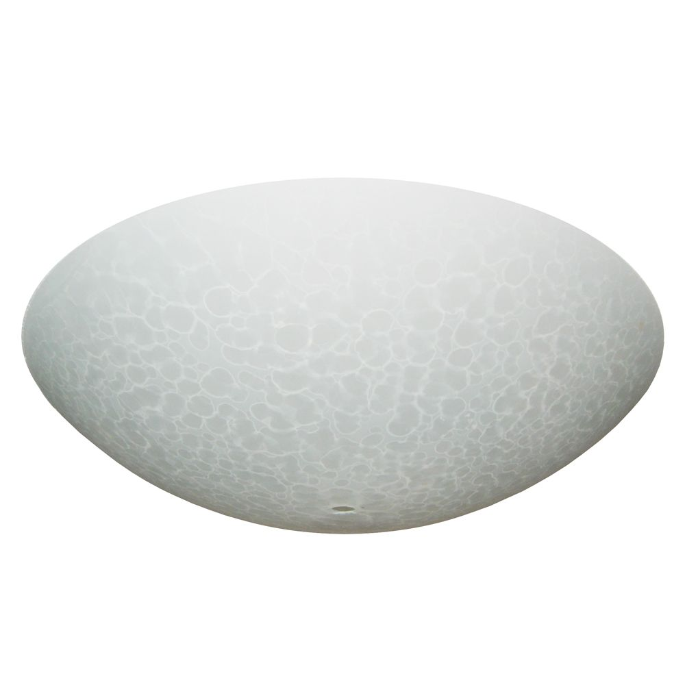13 In. Bedroom Glass, White Speckled Finish