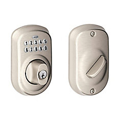 Plymouth Satin Nickel Keyless Entry Electronic Deadbolt