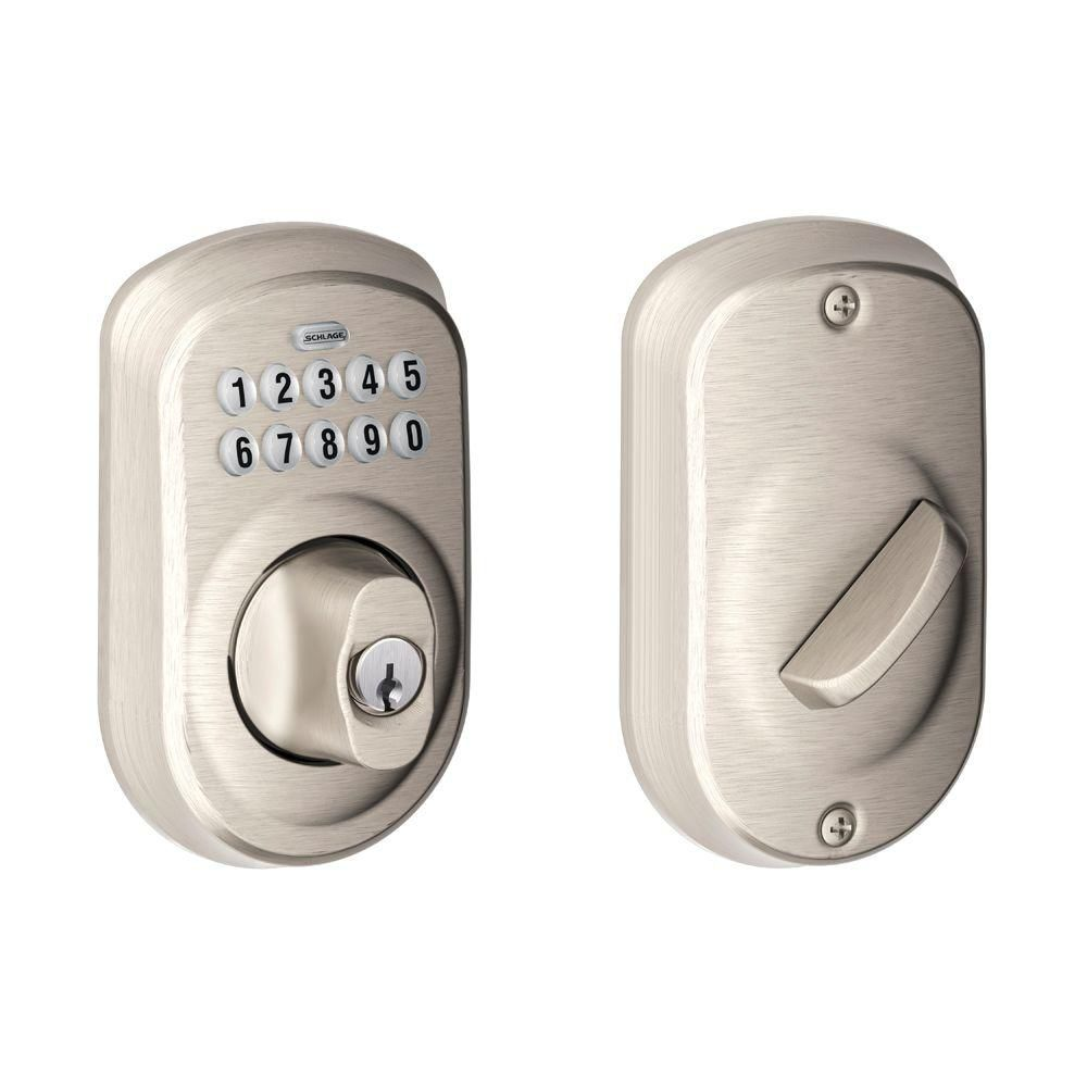 Schlage Plymouth Satin Nickel Keyless Entry Electronic Deadbolt