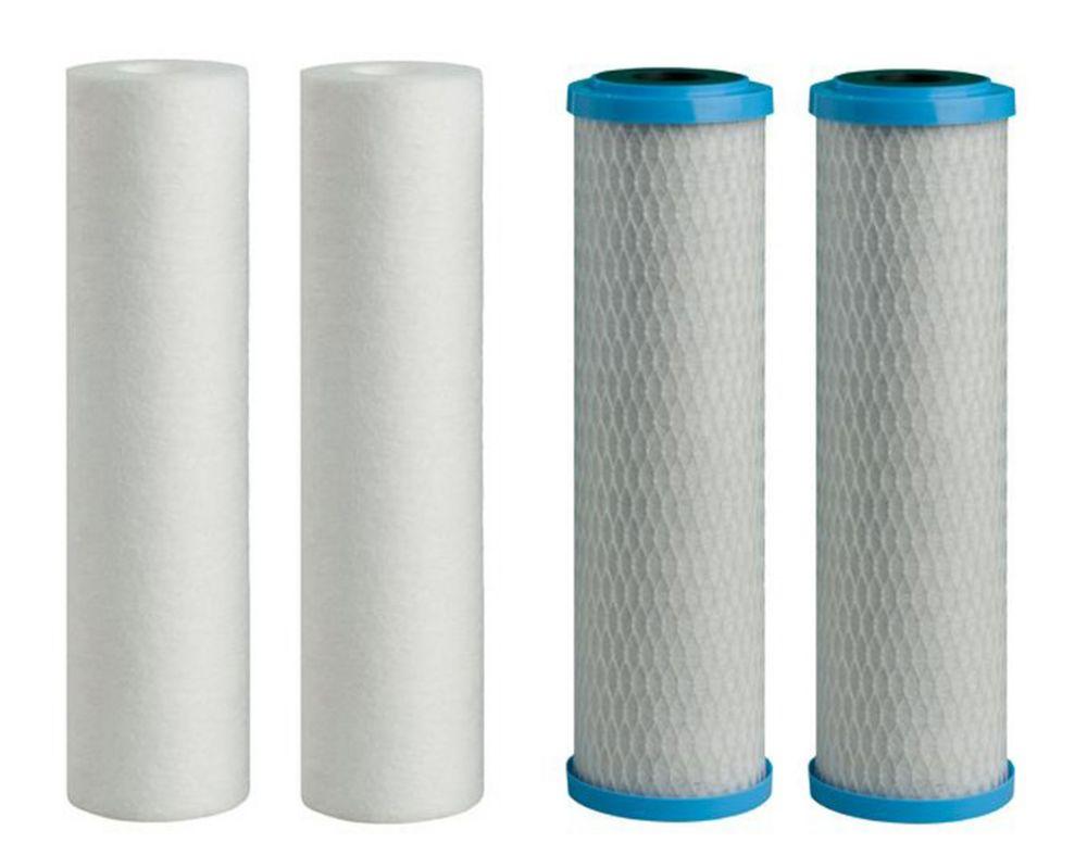 Filtre 5 microns en paquet de 4 (2 - Sédiments, 2 - Charbon)