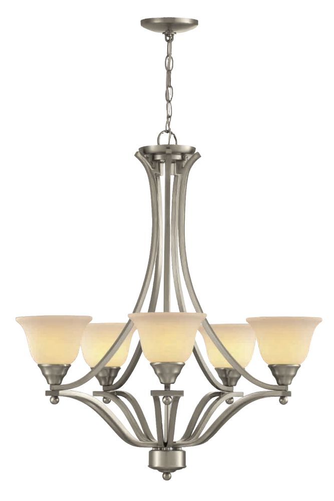27 In. Chandelier, Brushed Nickel Finish