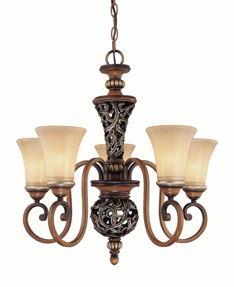 5 Light Café Patina Chandelier With Avorio Gl Shades
