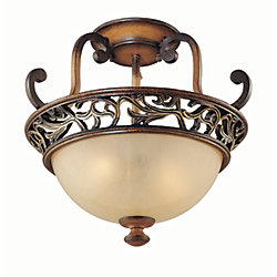 Hampton Bay Caffe Patina 2-Light Bronze Semi-Flushmount with Avorio Glass Shade and Gold Scroll and Leaf Accents