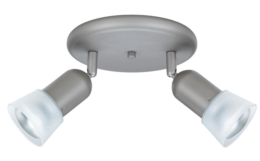 2 Light Semi-Flushmount Ceiling Fixture Brushed Nickel Finish Frosted Etched Glass Shades