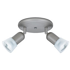 2 Light Semi-Flushmount Ceiling Fixture Brushed Steel Finish Frosted Etched Glass Shades