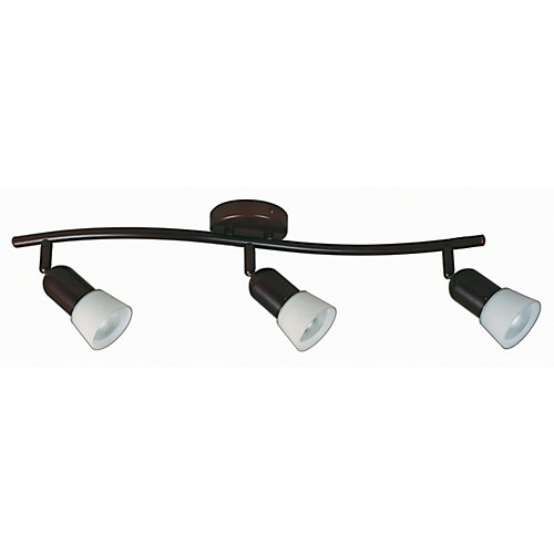 3-Light Semi-Flushmount Track Bar Light Fixture in Antique Bronze with Opal White Glass Shades