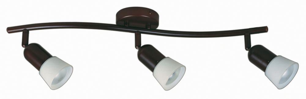 Semi-plafonnier à rail à 3lampes avec diffuseurs, fini bronze antique et verre opale blanc