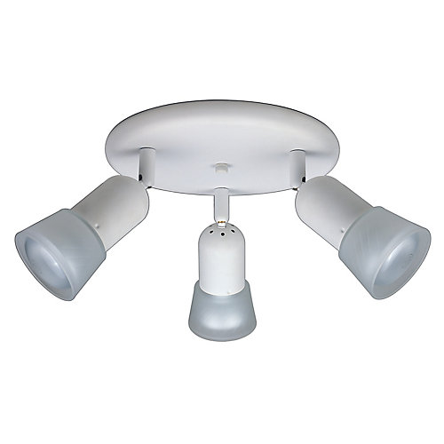 3-Light Semi-Flushmount Ceiling Light Fixture in Matte White with Etched Glass Shades