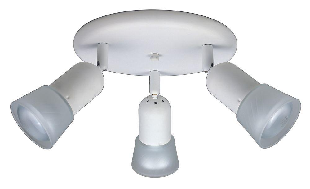 Projecteur cylindrique trous d'épingle pour rail droit 120V blanc