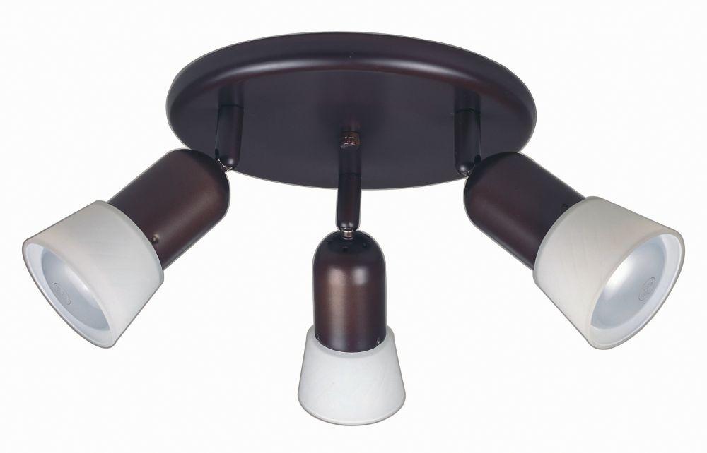 Plafonnier rond prise directe à 3 lumières en fini bronze antique avec abat-jour en verre opale b...