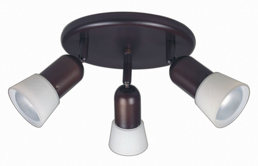 Hampton Bay 3 Light Semi-Flushmount Ceiling Fixture Antique Bronze Finish Etched Glass Shades