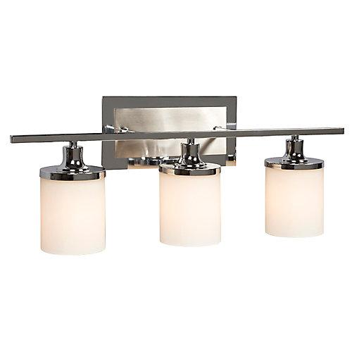 3 light bathroom vanity wall light fixture in chrome