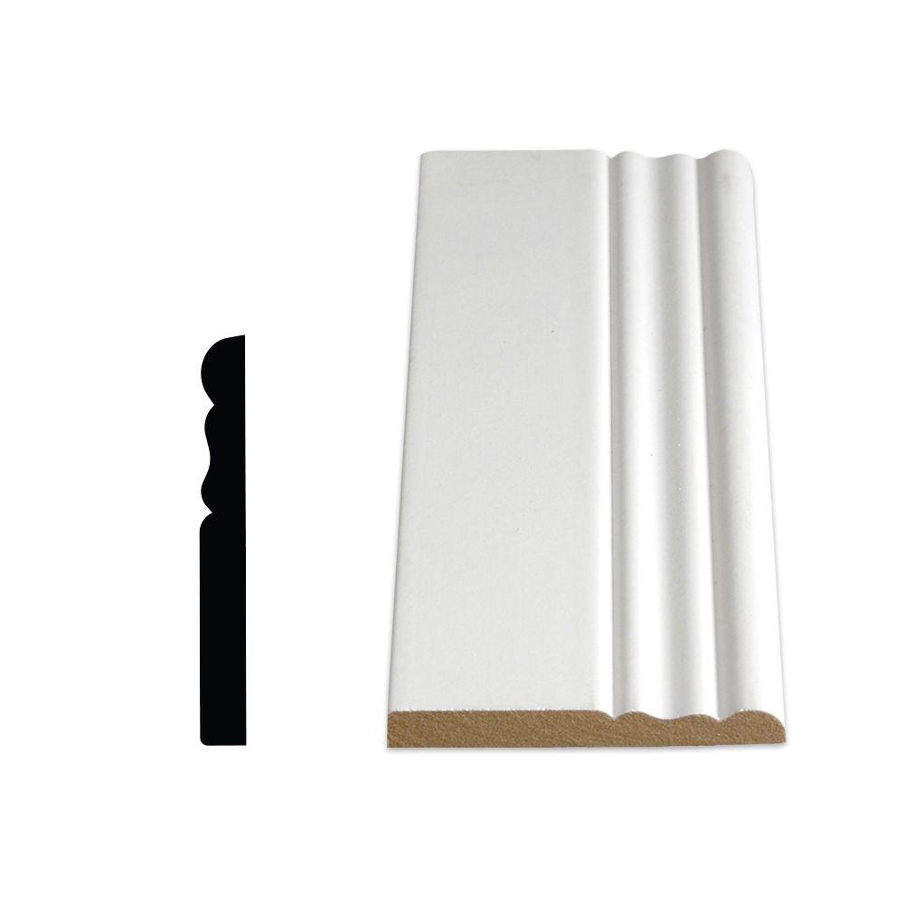 Painted Fibreboard Decosmart Colonial Base 3/8 In. x 3-1/8 In. x 8 Ft.