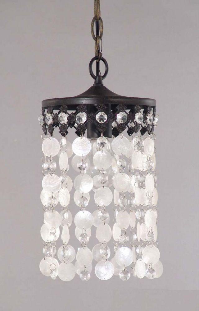 Black Finish with Capiz Shells, 1 Light Pendant
