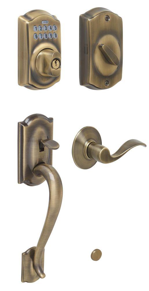Antique Brass Electronic Door Handleset Camelot / Accent Lever